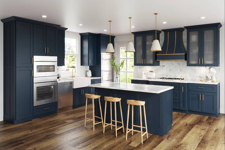 Midnight Blue Shaker Kitchen Cabinets