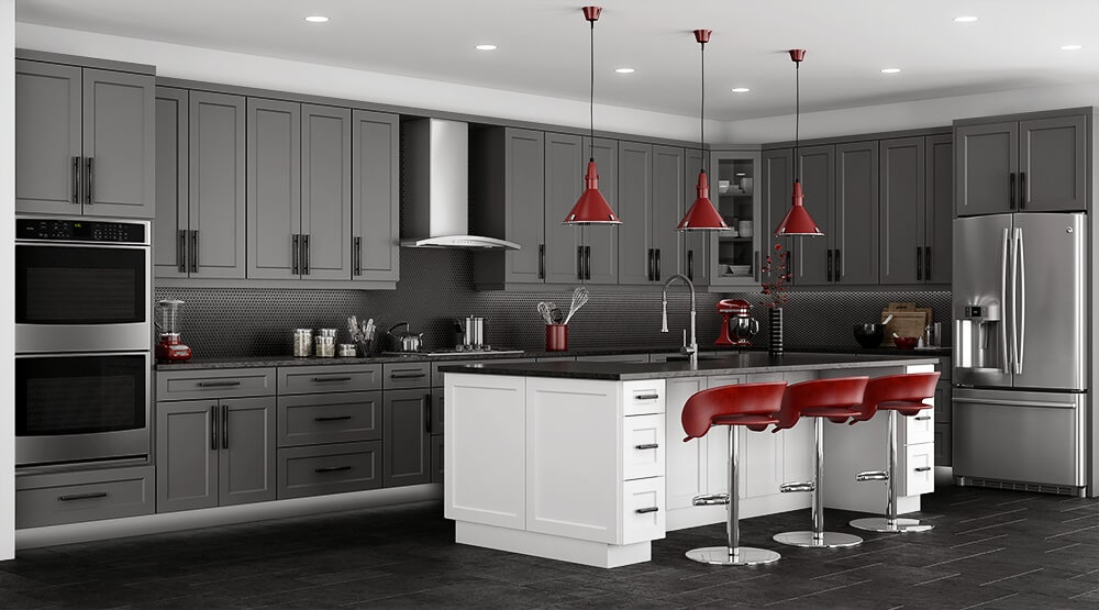 Stone Grey Shaker Kitchen Cabinets RTA Cabinet Store - Red and grey kitchen cabinets