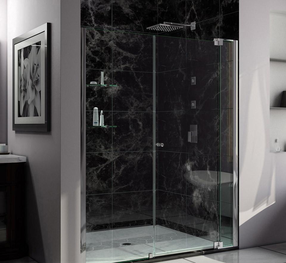 DreamLine Allure 57 to 58 in. Frameless Pivot Shower Door, Clear ...