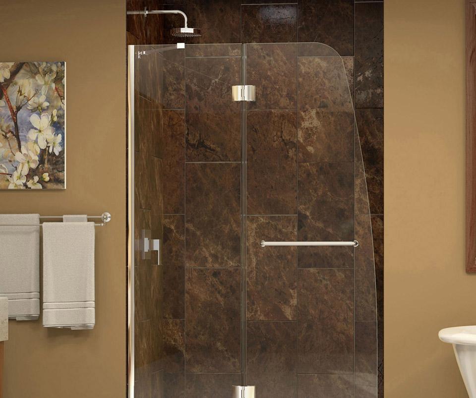 DreamLine Aqua Frameless Hinged Shower Door and SlimLine 34 in. by ...