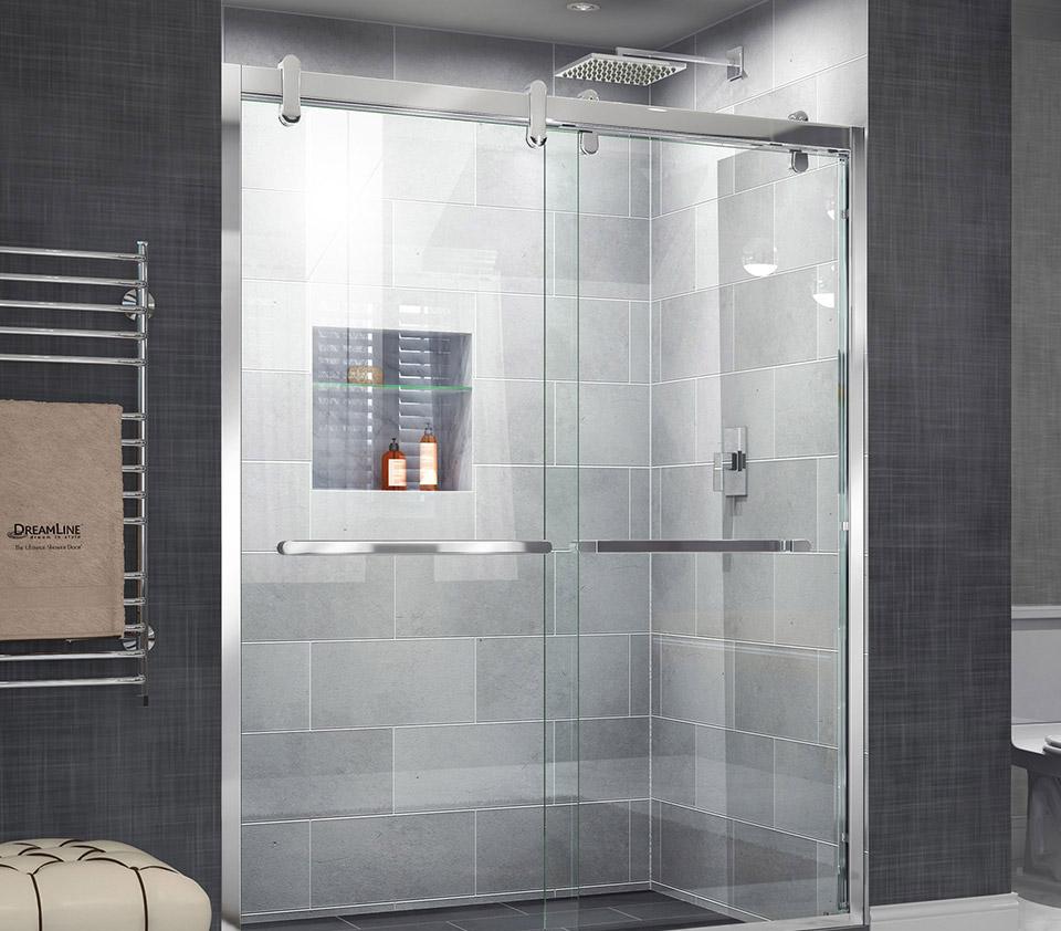 DreamLine Cavalier 56 - 60 in. W x 76 in. H Sliding Shower Door SHDR ...