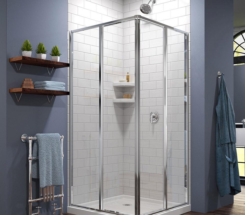 DreamLine Cornerview Framed Sliding Shower Enclosure and SlimLine 36 ...