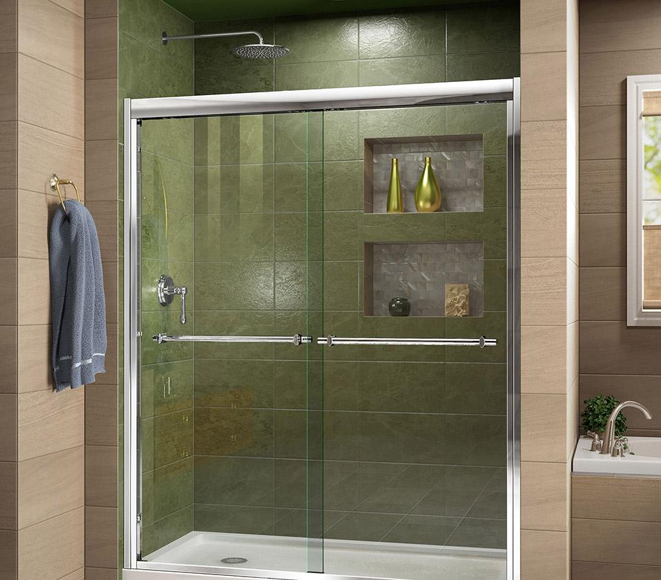 DreamLine Duet 56 to 60 in. Frameless Bypass Sliding Shower Door ...