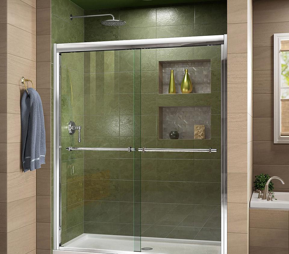 DreamLine Duet Frameless Bypass Sliding Shower Door and SlimLine 30 ...