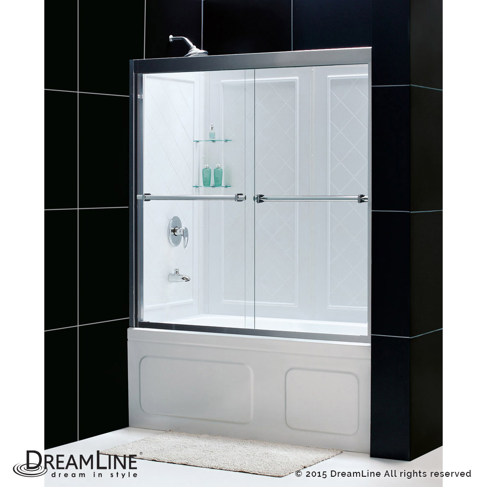 DreamLine Duet 56 to 59 Frameless Bypass Sliding Tub Door and QWALL ...