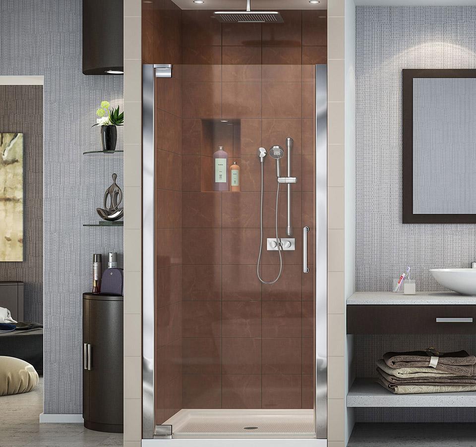 DreamLine Elegance 27 to 29 in. Frameless Pivot Shower Door SHDR ...