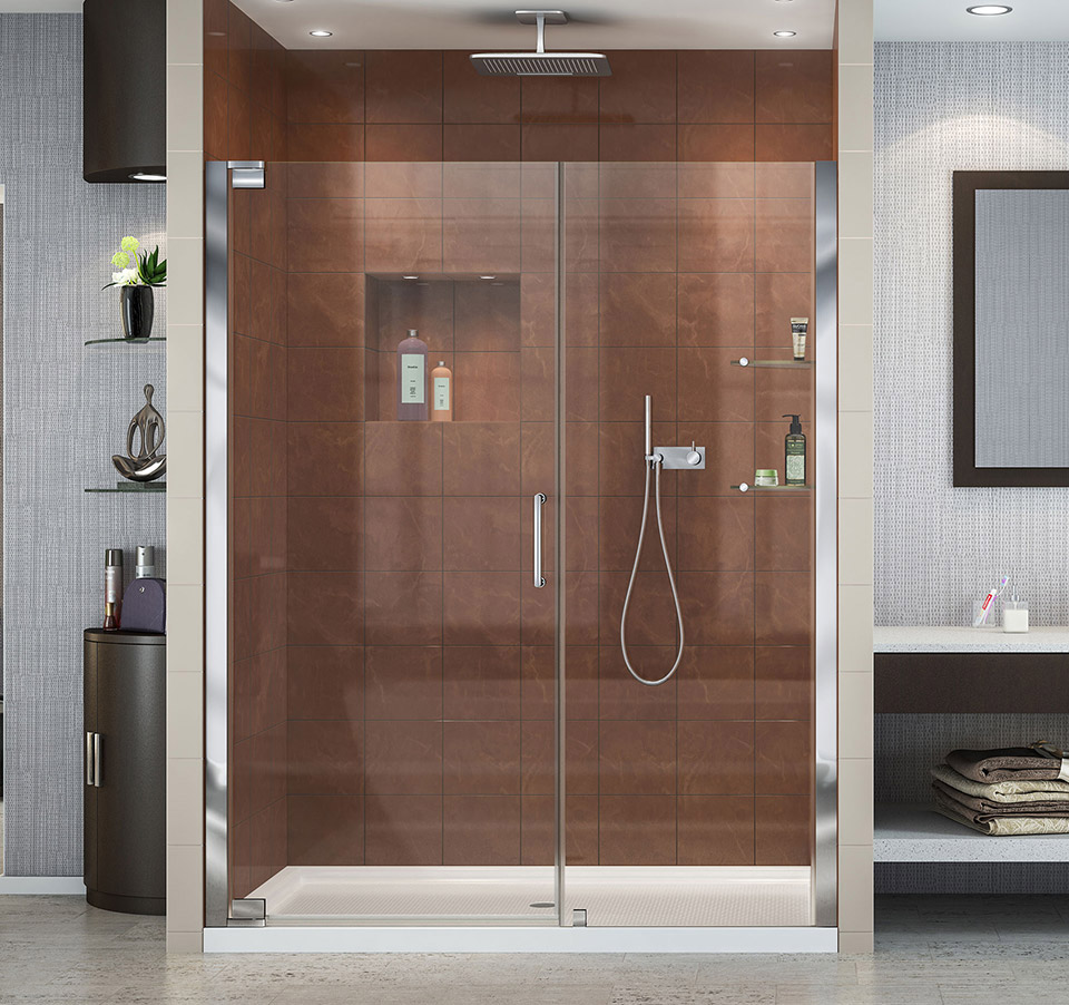 Dreamline Elegance Frameless Pivot Shower Door And Slimline 30 In