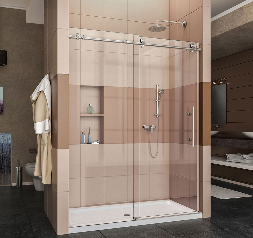 DreamLine Enigma-X Fully Frameless Sliding Shower Door and SlimLine ...