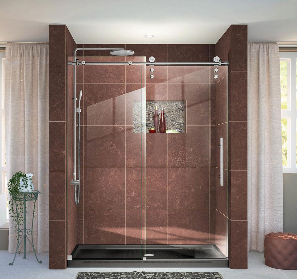 DreamLine Enigma-Z 56 to 60 in. Fully Frameless Sliding Shower Door ...