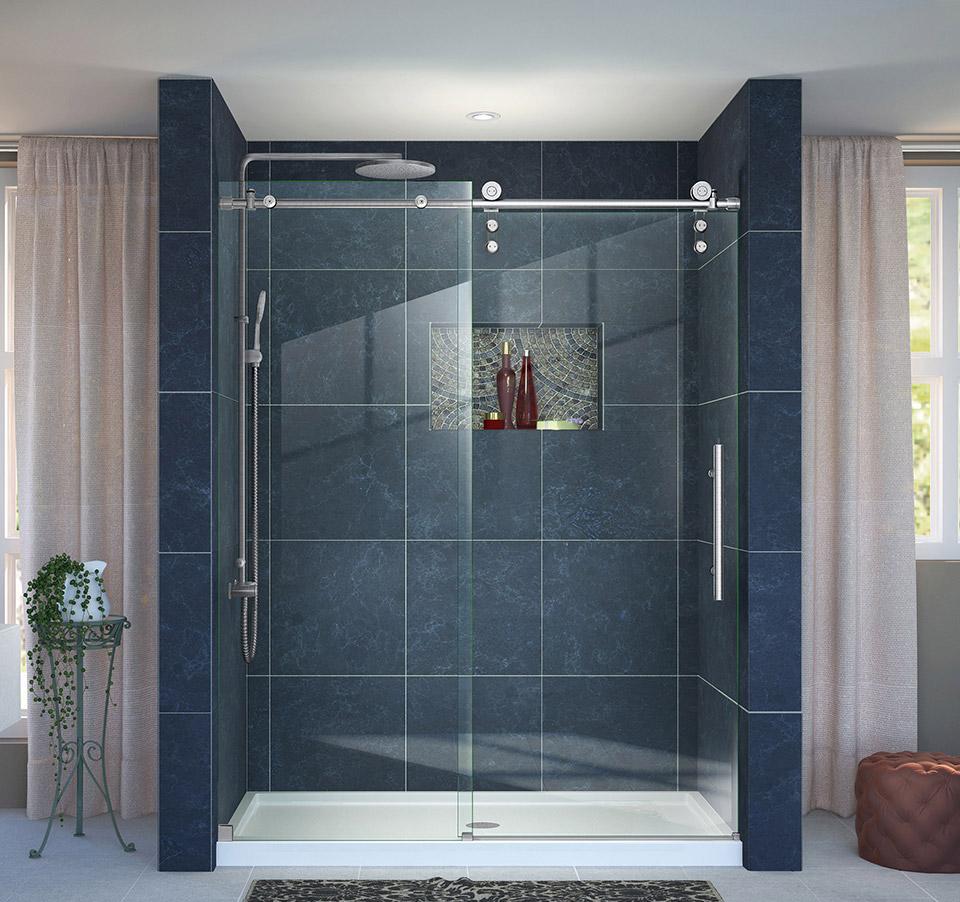 DreamLine Enigma-Z Fully Frameless Sliding Shower Door and SlimLine ...
