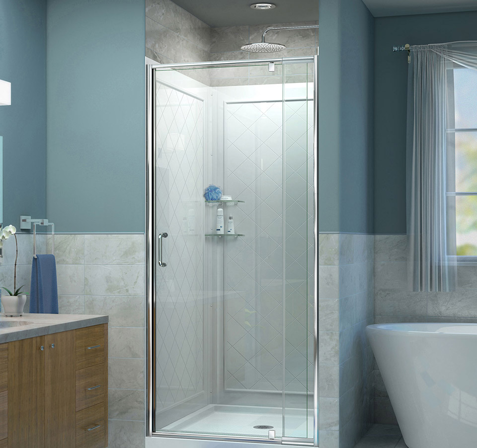 Dreamline Flex 36 In W X 36 In D X 76 3 4 In H Frameless Shower Door Backwall And Base Kit Dl 6218c 01cl