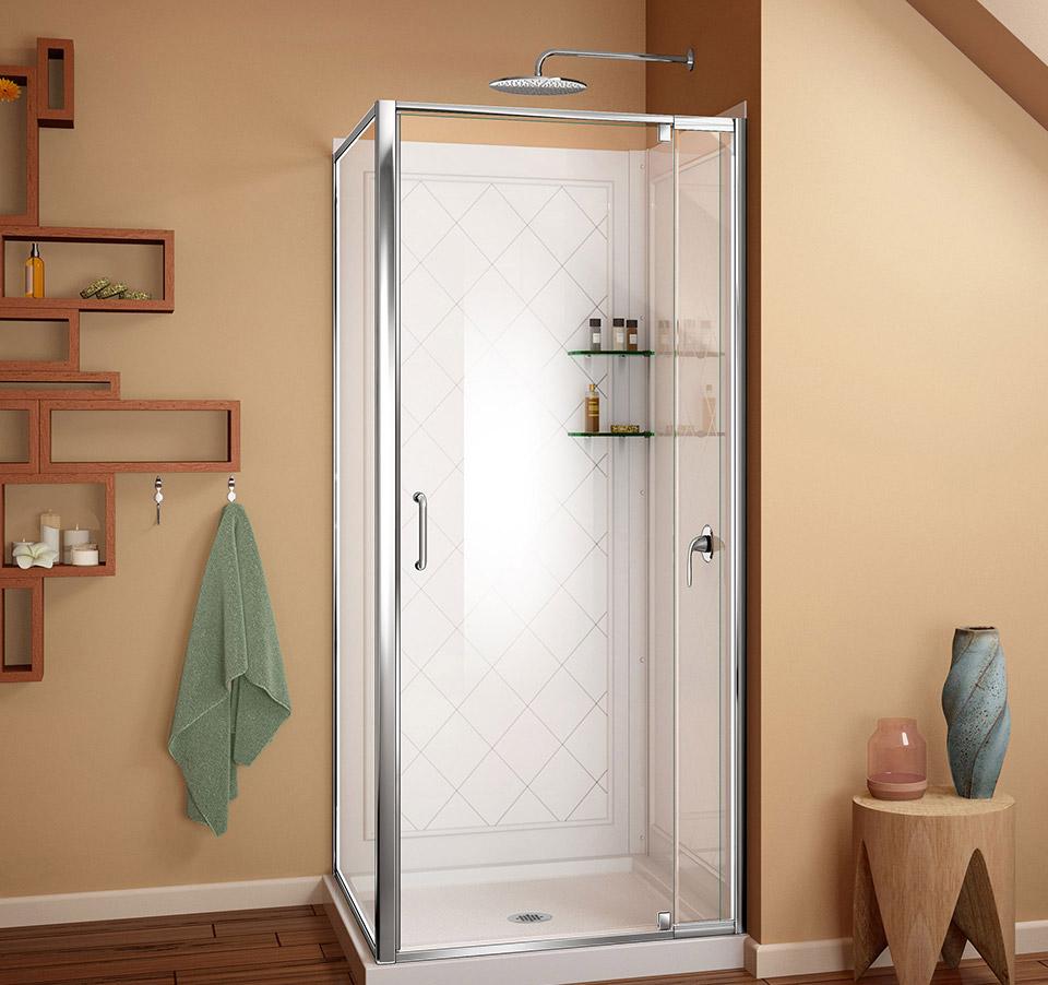 DreamLine Flex 36-in. W x 36-in. D x 76-3/4-in. H Frameless Shower ...