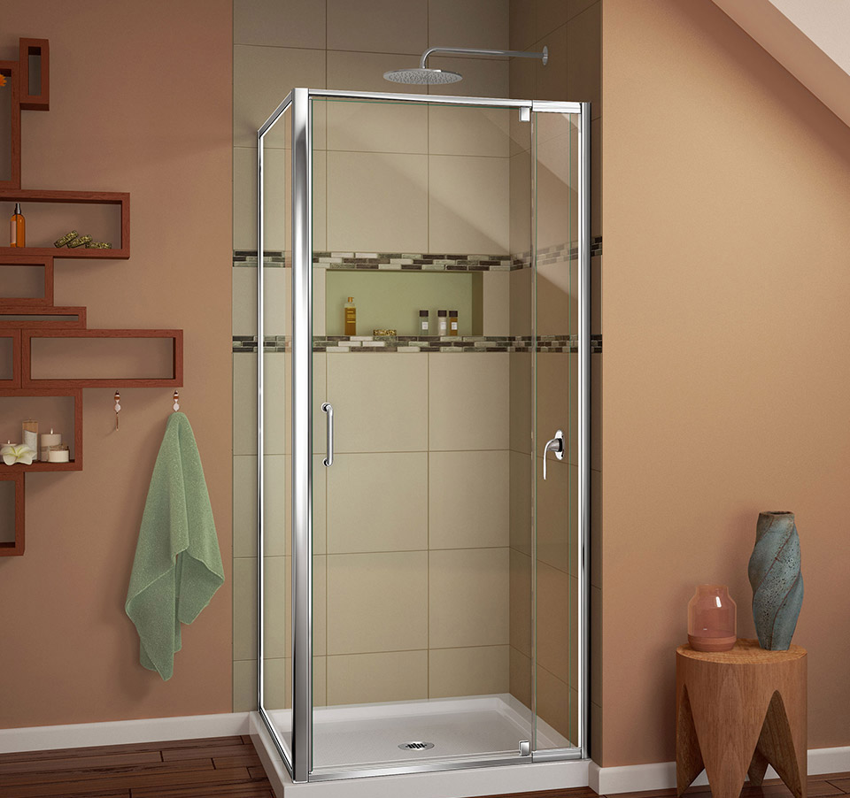 DreamLine Flex 32-in. W x 32-in. D x 74-3/4-in. H Frameless Shower ...