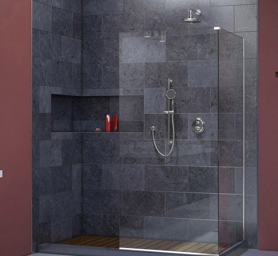 DreamLine Linea Frameless Shower Door. Two Attached Glass Panels: 34 ...