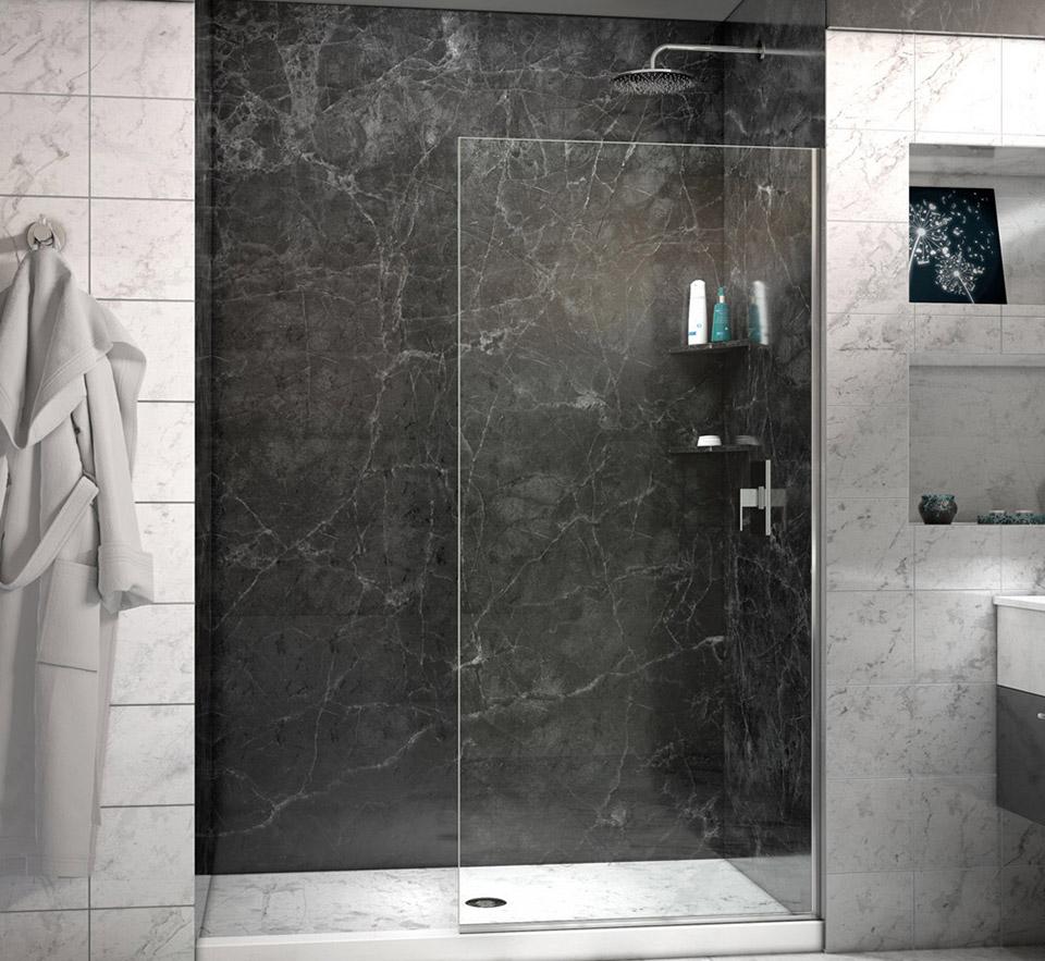 DreamLine Linea Frameless Shower Door 30 in. x 72 in. Open Entry ...