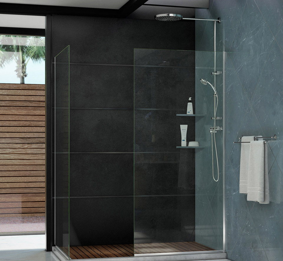 Dreamline Linea Frameless Shower Door Two Glass Panels
