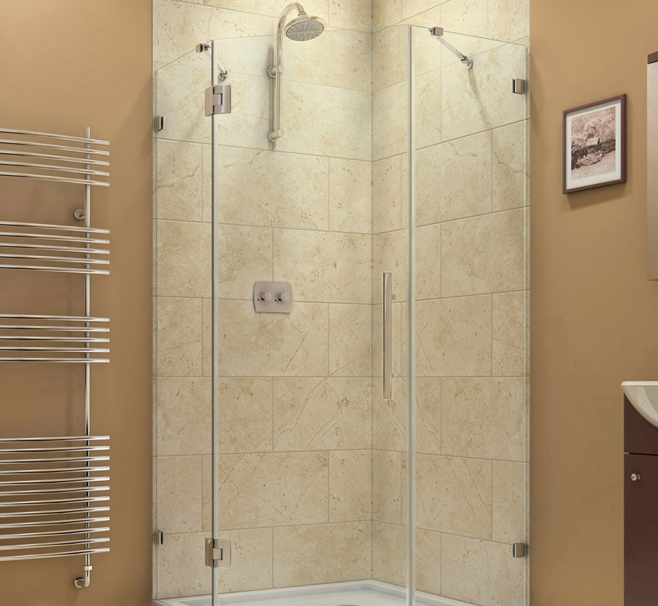 DreamLine DL 6053 Prism Lux Frameless Hinged Shower Enclosure And SlimLine  42 In. X 42 In. Shower Base