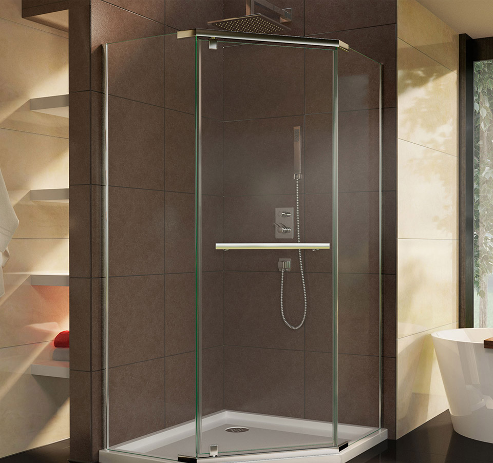 DreamLine DL 6033 Prism Frameless Pivot Shower Enclosure And SlimLine 42  In. X 42 In. Shower Base