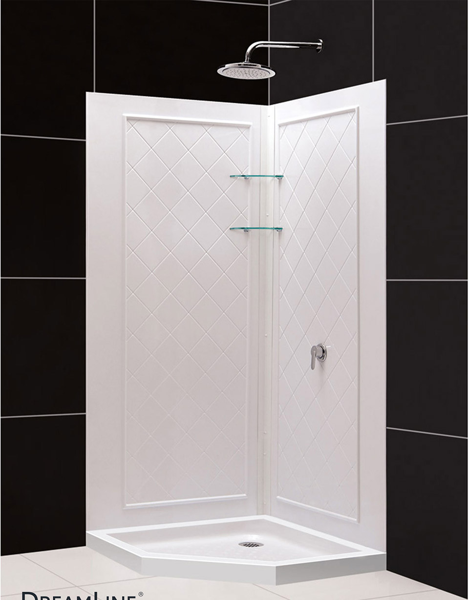 DreamLine SlimLine 36 in. x 36 in. Neo-Angle Shower Base and QWALL-4 ...