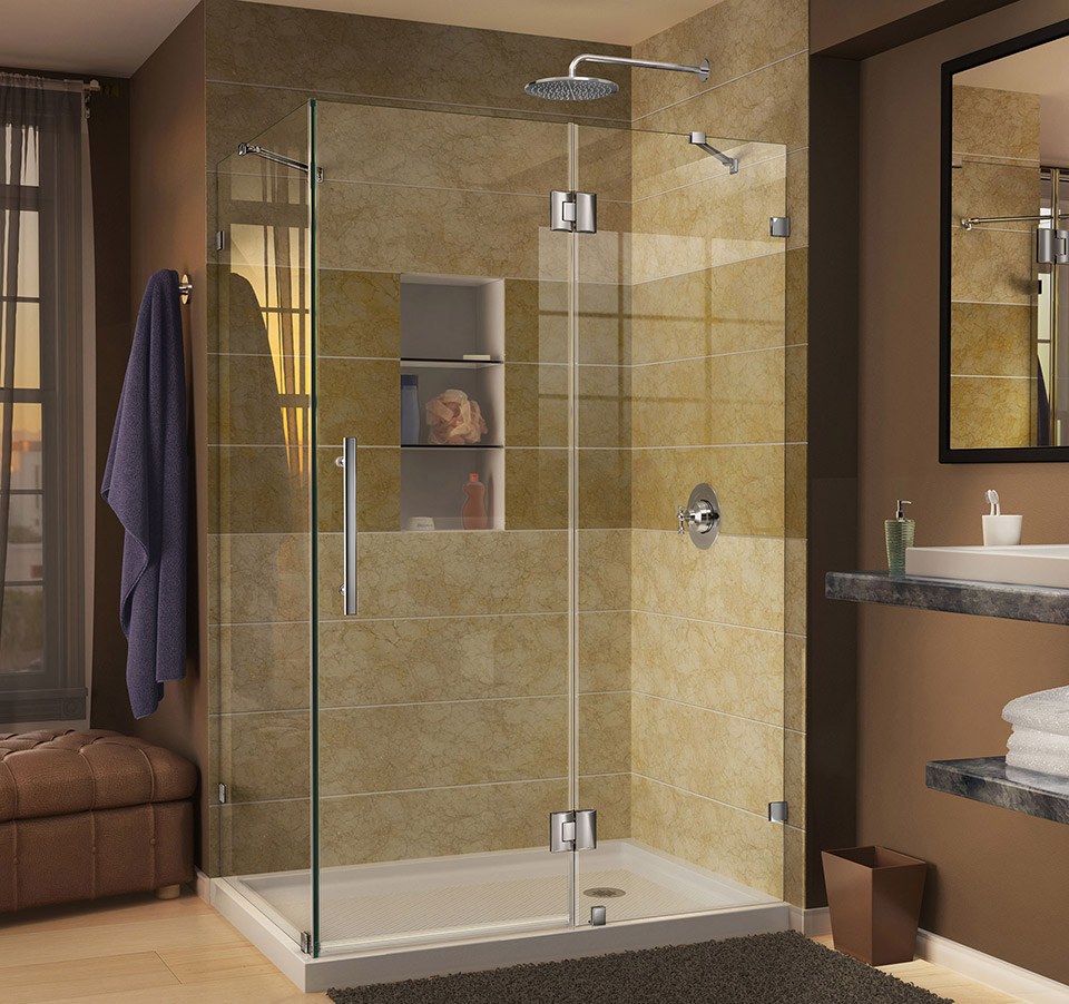 DreamLine Quatra Lux 34 5/16 in. by 46 5/16 in. Frameless Hinged ...
