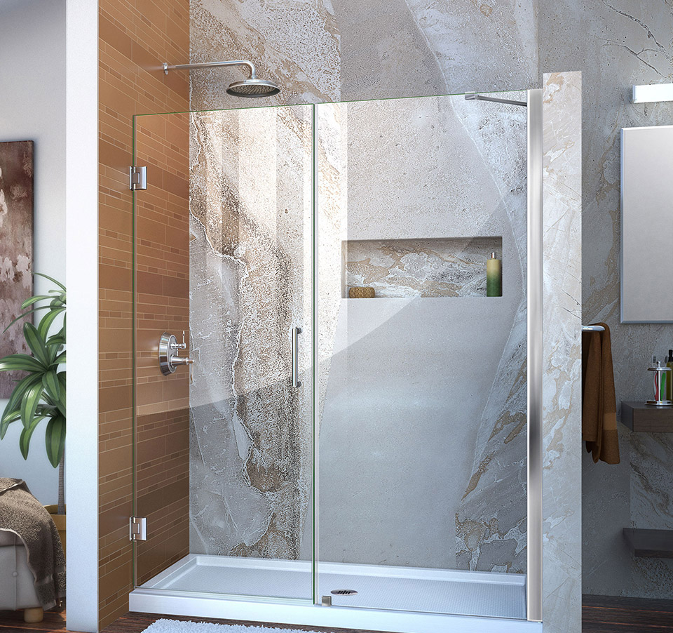 DreamLine Unidoor Min 56 in. to Max 57 in. Frameless Hinged Shower ...