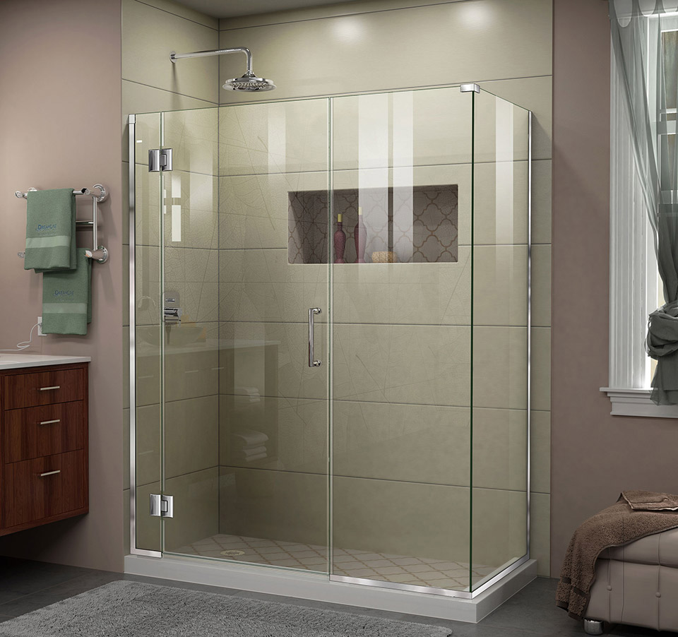 DreamLine E1292230 Unidoor-X 57 in. W x 30.375 in. D x 72 in. H Hinged Shower Enclosure & DreamLine Unidoor-X 57 in. W x 30.375 in. D x 72 in. H Hinged Shower ...