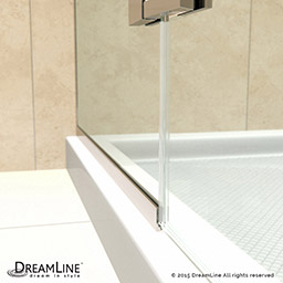this kit combines an aqua ultra shower door with a slimline shower base the unique and curved silhouette gives this door an
