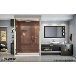 this dreamline shower kit combines an elegance pivot shower door with a slimline shower base the elegance pivot shower door delivers a