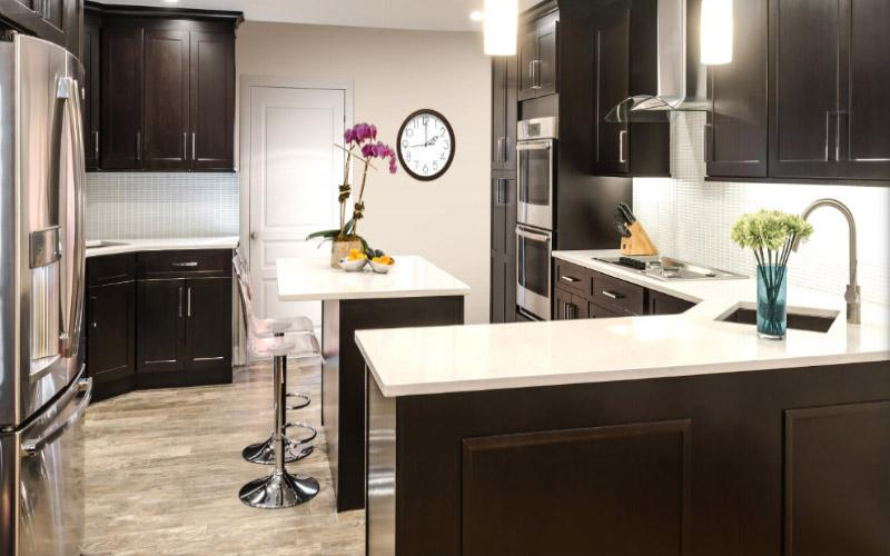 Shaker Espresso Kitchen Cabinets-Sample door-RTA-All wood in stock