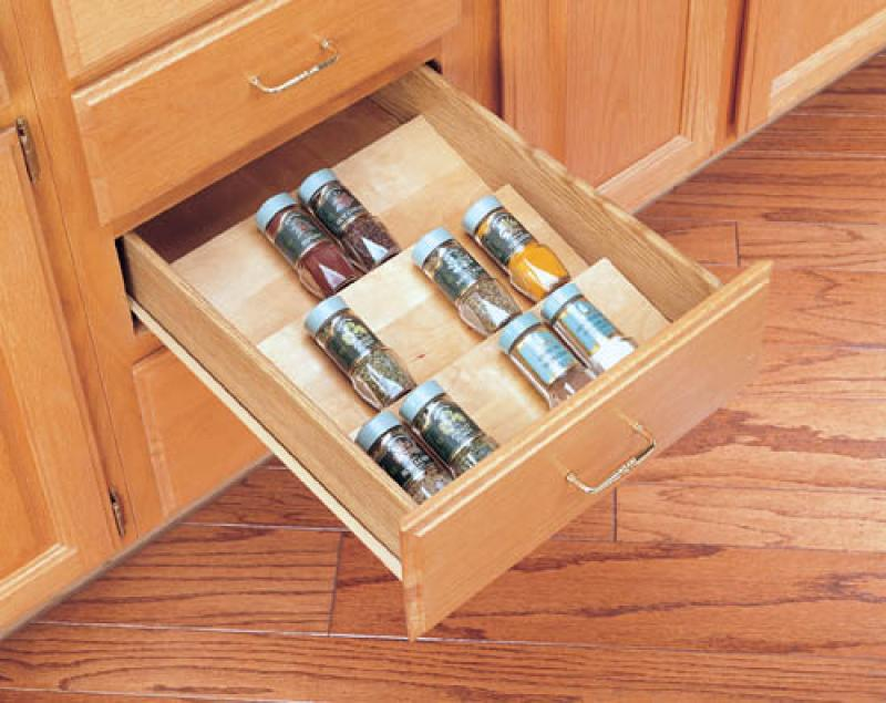 "Wood Spice Drawer Insert- 18"" Base or smaller"