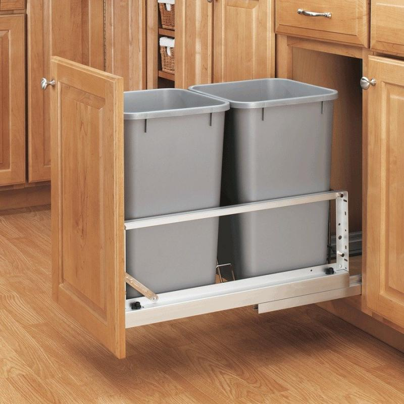 Double 27 Qt. Metallic Silver Pull-Out Waste Containers- Soft-Closing Door Mount Slides