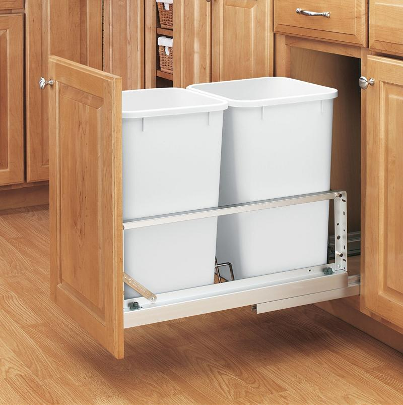 Double 27 Qt. White Pull-Out Waste Containers- Soft-Closing door mount slides