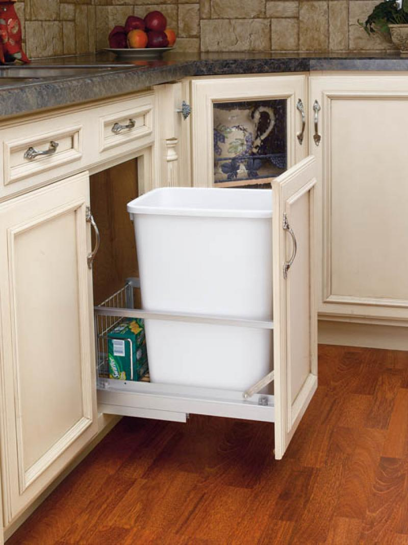 "Single 35 Qt. White Pull-Out Waste Container with soft-closing door mount slides (18"" deep)"