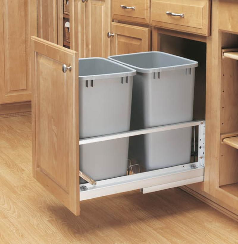 Double 35 Qt. Metallic Silver Pull-Out Waste Containers- Soft-Closing Door Mount Slides