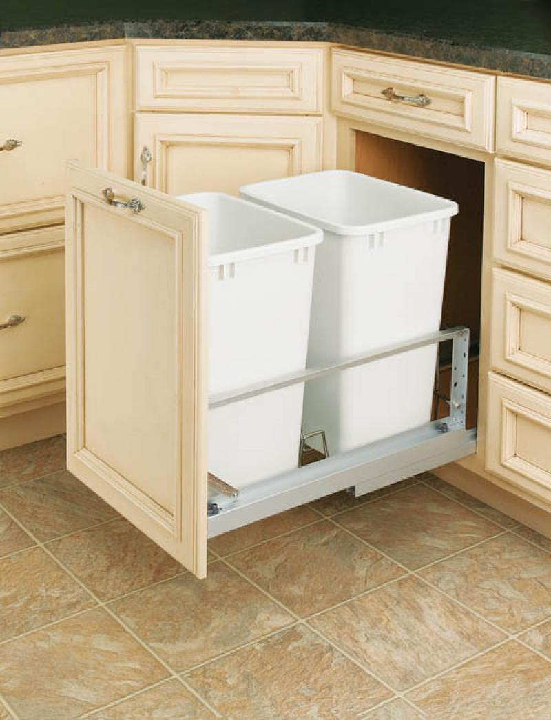 Double 35 Qt. White Pull-Out Waste Containers- Soft-Closing Door Mount Slides
