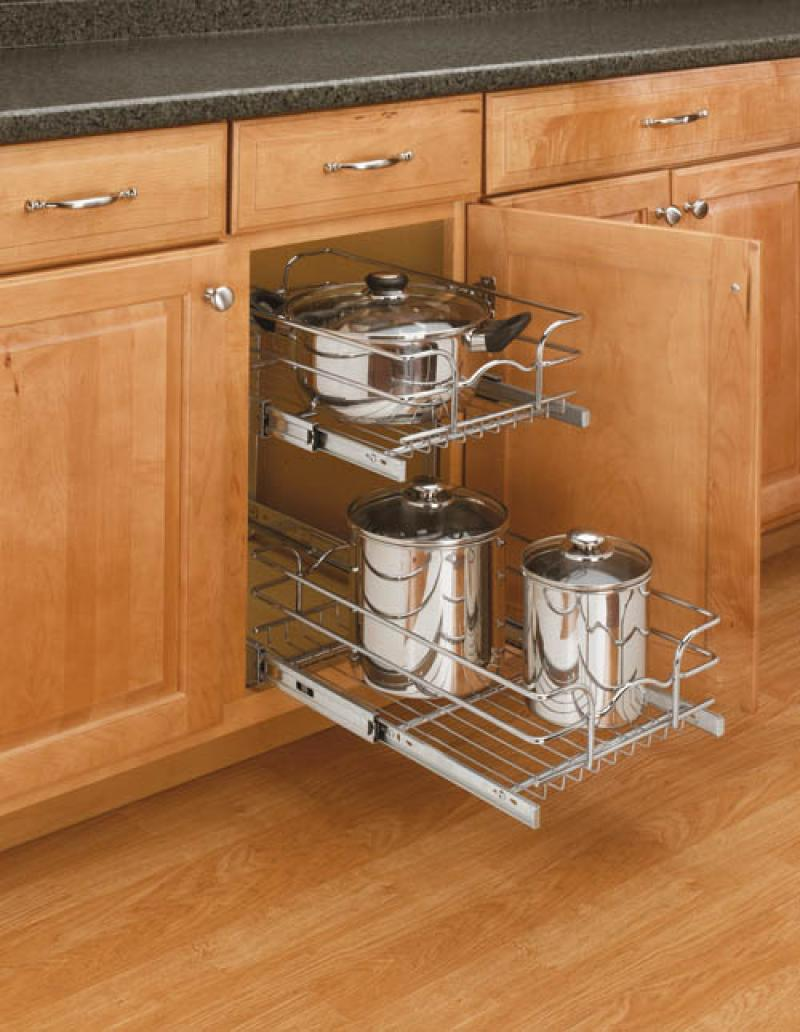 "15"" Double Pull-Out Wire Basket (22"" Slides)"