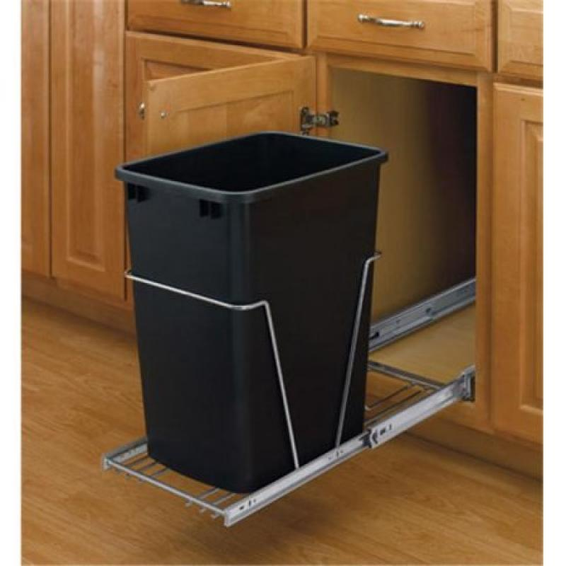 Single 35 Qt. Pull-Out Waste Container - Black with full extension chrome slides