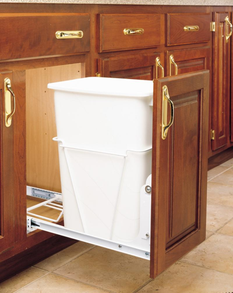 Single 35 Qt. Pull-Out Waste Container - White with full extension slides