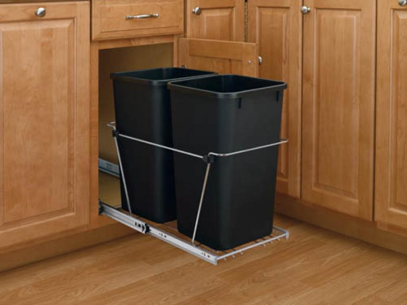Double 27 Qt. Pull-Out Waste Containers - Black, full extension  chrome slides