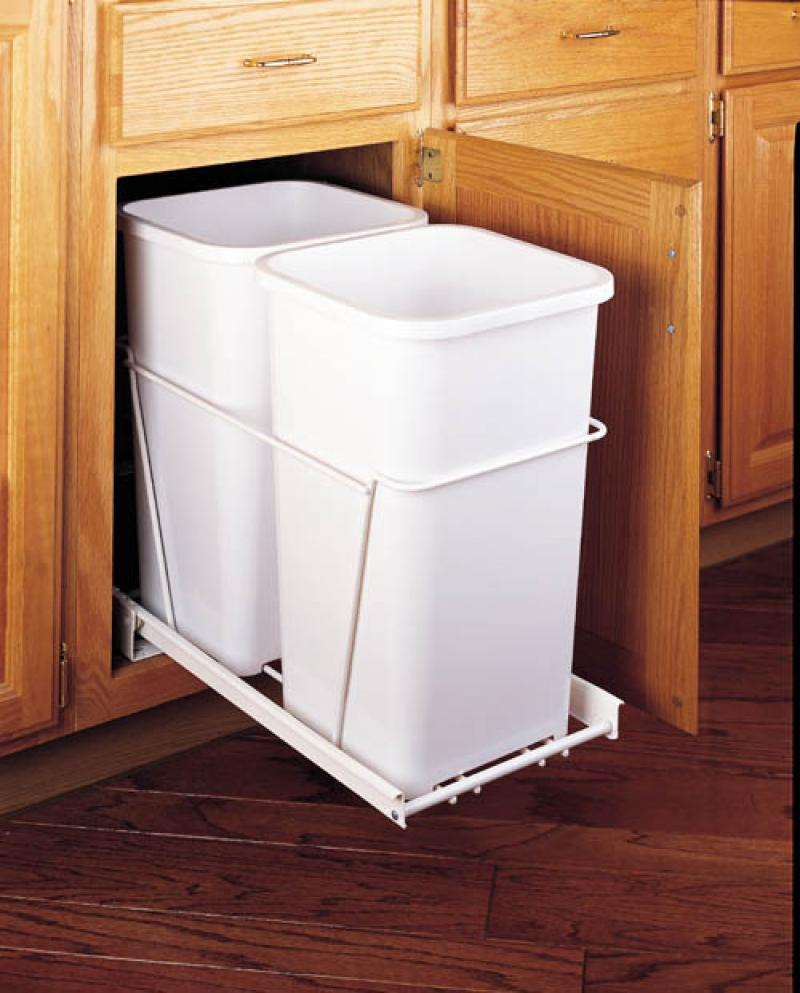 Double 27 Qt. Pull-Out Waste Containers - White, full extension slides