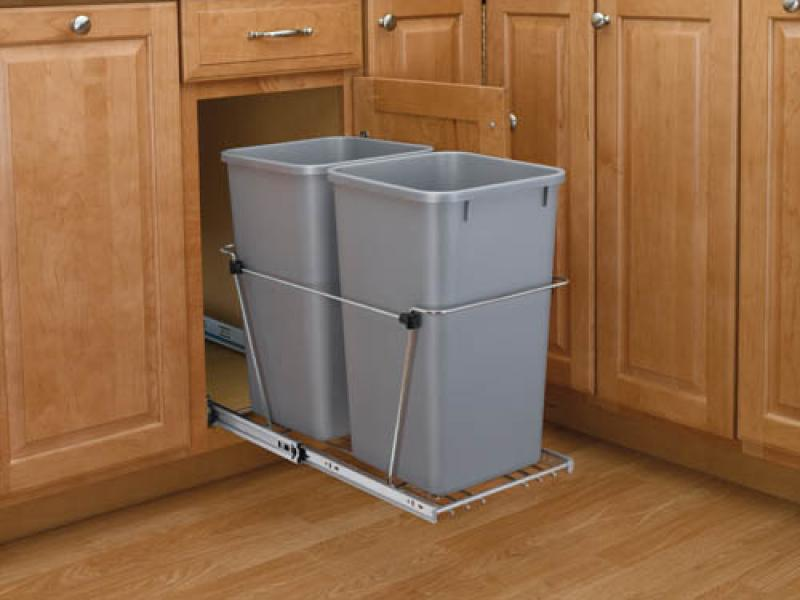 Double 35 Qt. Pull Out Waste Containers - Silver, full extension chrome slides