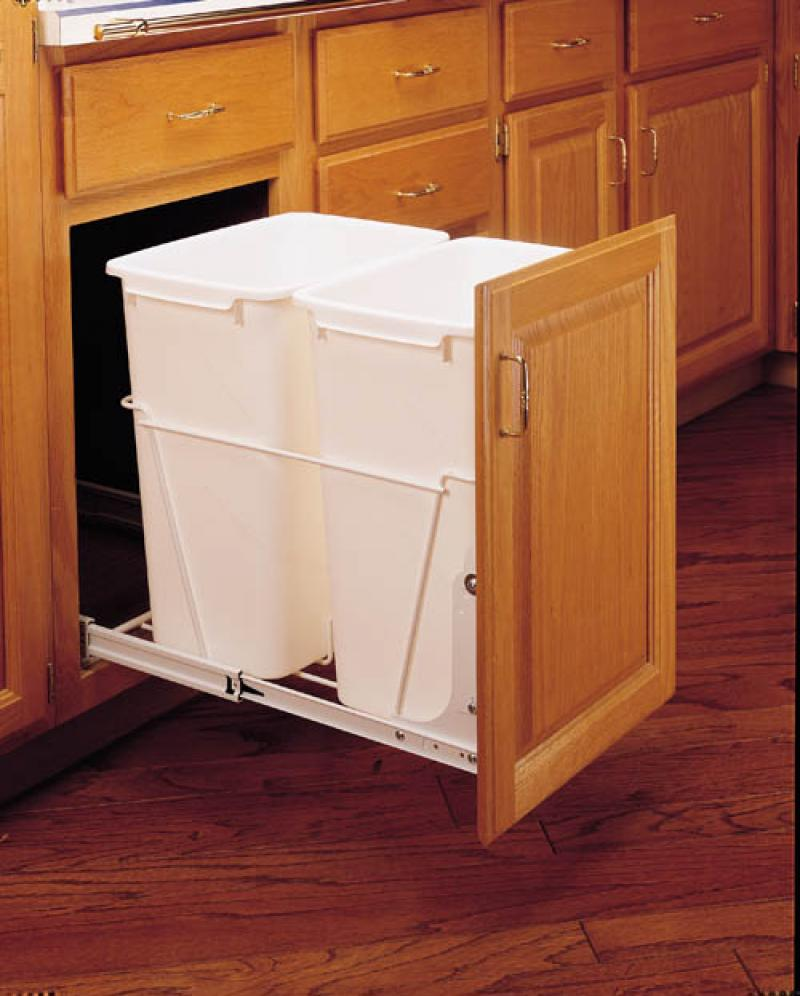 Double 35 Qt. Pull-Out Waste Containers- White, full extension slides