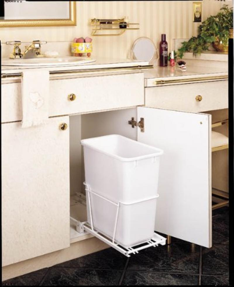Single 20 Qt. Pull-Out Waste Container - White
