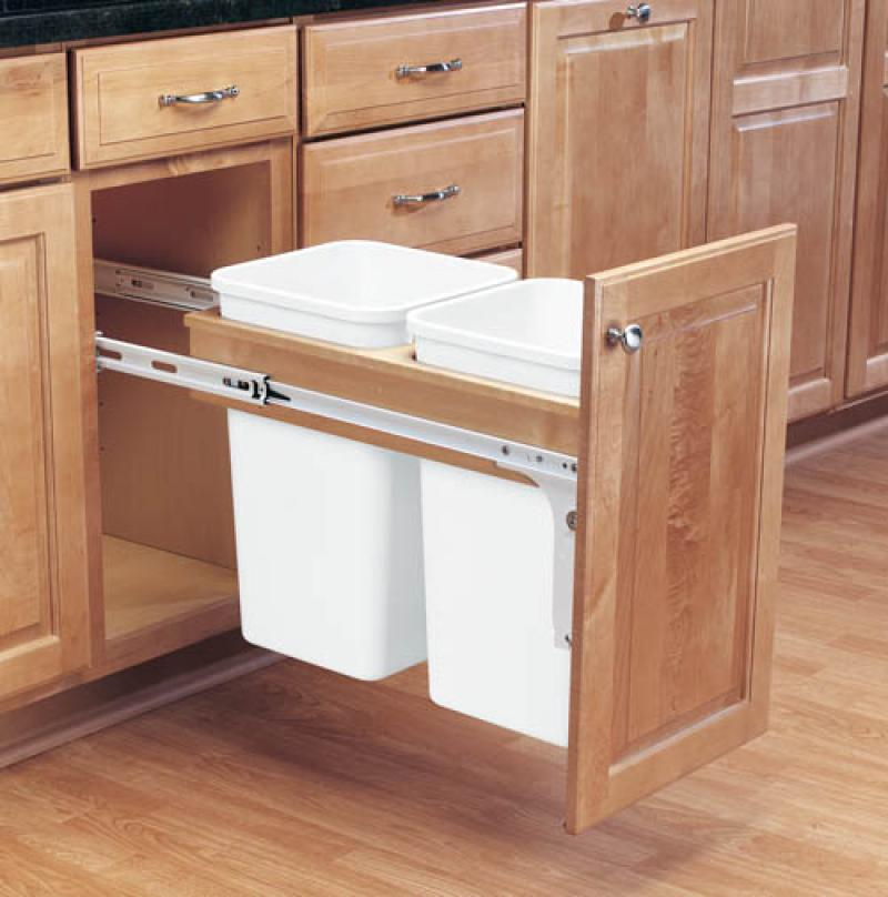 Double 27 Qt. Top Door Mount Pull-Out Waste Containers
