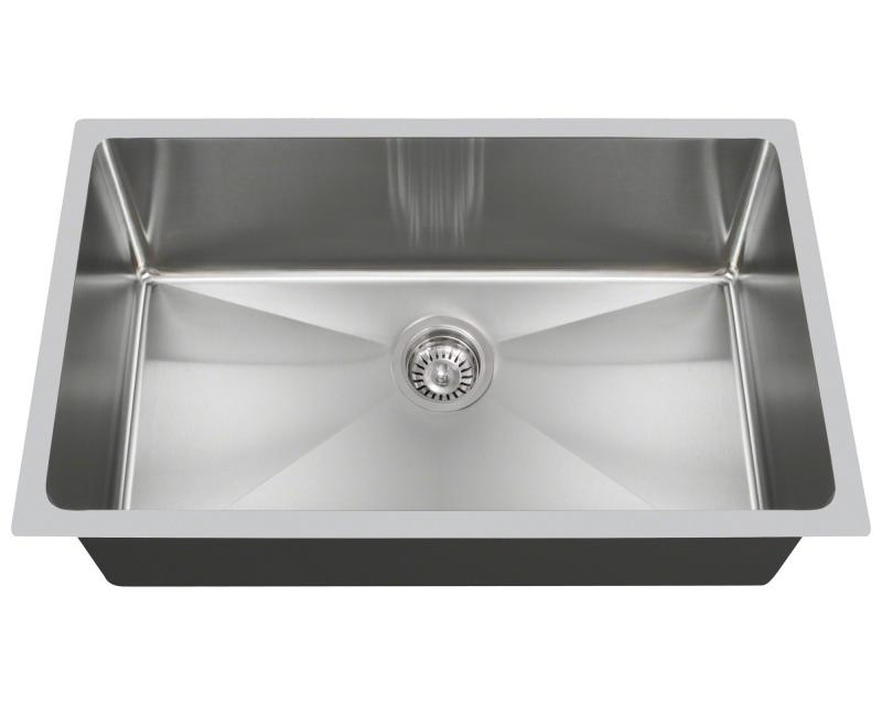 "Polaris PS0213 Undermount Single Bowl 3/4"" Radius Stainless Steel Kitchen Sink"