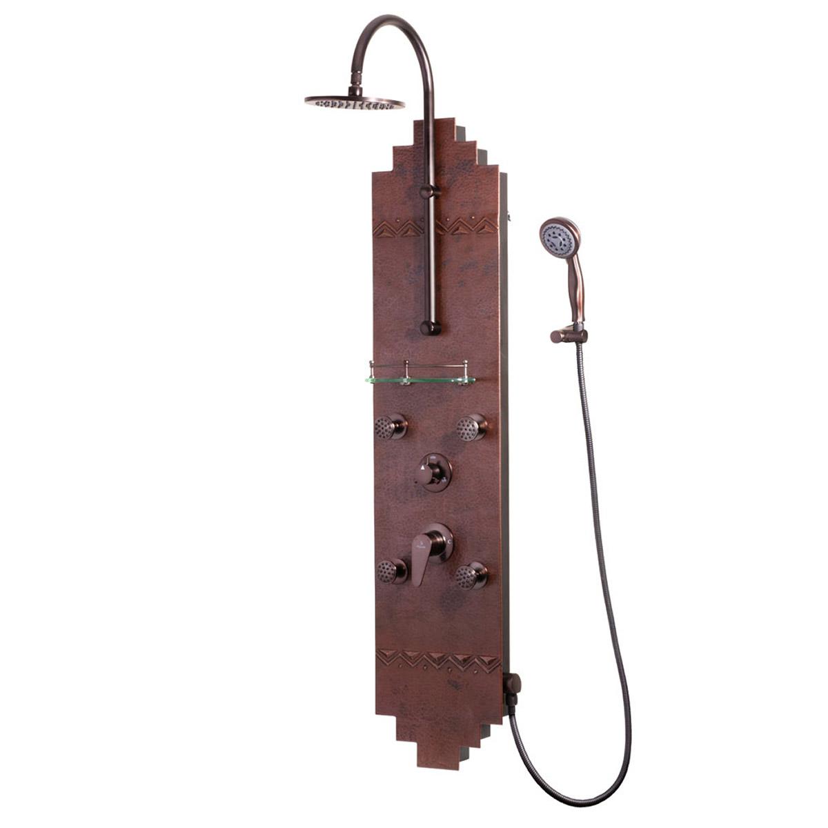 PULSE ShowerSpas Hammered Copper ORB Shower Panel - Navajo ShowerSpa