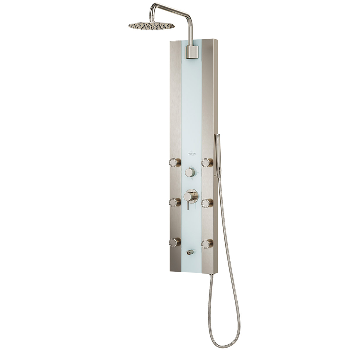 PULSE ShowerSpas Tropicana ShowerSpa White Glass Shower Panel