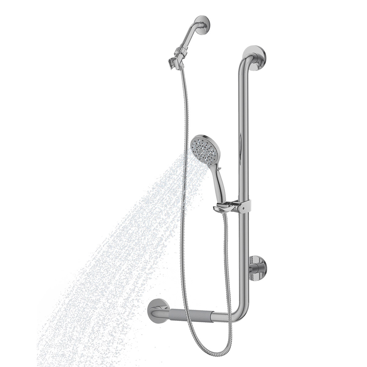 PULSE ShowerSpas ErgoSlideBar Stainless Steel Brushed - Right