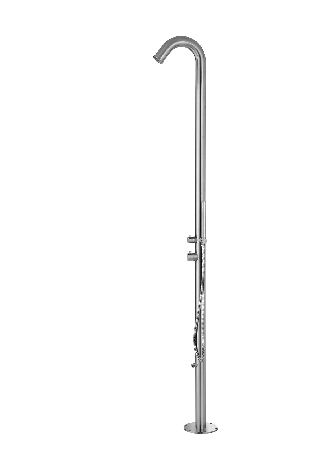 PULSE ShowerSpas Outdoor Brushed Stainless Steel Shower System - Wave Outdoor Shower