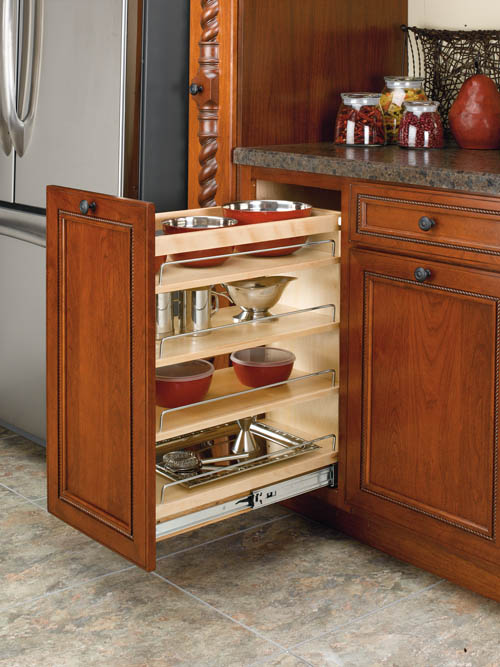 "Pull-Out Base Organizer with Adjustable Shelves - for 9"" Base Cabinet"